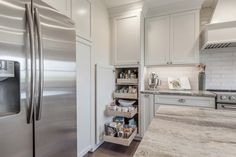 Pantry featuring our Colonial II Maple Bright White Cabinets. Add these to your kitchen cabinets for style and functionality! Kitchen Reno, New Kitchen, Kitchen Remodel, Kitchen Cabinets, Kitchen Islands, Kitchen Ideas, Window Over Sink, Bay Window Kitchen, Discount Cabinets