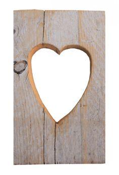 lijst met hart steigerhout ~ wood frame with heart
