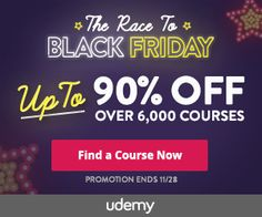 Great opportunity to hone your technology and social media skills! Thousands of courses to choose from that are been offered at super cheap prices due to the Black Friday sale that ends soon. Read more.....