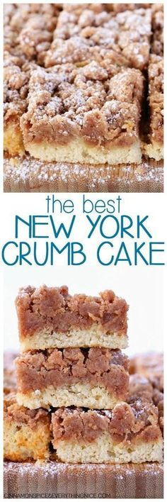 Best New York Crumb Cake Entenmann's Copycat Crumb Cake! Everyone will ask for the recipe - it's so good! The Best New York Crumb CakeEntenmann's Copycat Crumb Cake! Everyone will ask for the recipe - it's so good! The Best New York Crumb Cake Food Cakes, Cupcake Cakes, Cupcakes, Tea Cakes, 13 Desserts, Delicious Desserts, Yummy Food, Jewish Desserts, Cinnamon Desserts