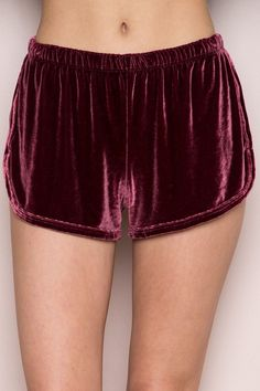 17d8d4204708 Super soft velvet pull-on shorts in pink with binding along the side seams  and hemline