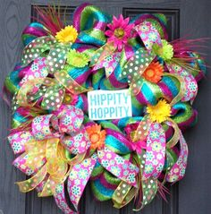 Bright Deco Mesh Easter Wreath by MNYDesigns on Etsy, $125.00