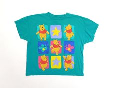 90s Winnie the Pooh Teal Green Dancing Honey Bear Vintage Disney Vintage Short Sleeve Cotton Tee T Shirt Top Usa Made / Womens Large by UptownHandyRanch on Etsy https://www.etsy.com/listing/498628285/90s-winnie-the-pooh-teal-green-dancing