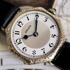 Ladies 1920s Gruen GUILD Engraved 14K Green Gold Filled Vintage Swiss Deco Watch  A Superb 1925 Sapphire Crown Model