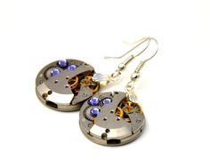 Pair of steampunk watch Movement earrings. Vintage Watch Movements with purple swarovski crystals. Art Deco - Jewelry - steampunk Jewellery by Mysstic on Etsy