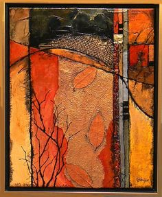 Carol Nelson » AUTUMN CROSSING, 9080, botanical abstract with metals and fall colors
