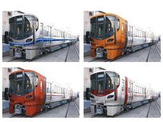 初期段階での227系の色彩検討。左上がJR西日本の標準的なデザインで、これとは異なる広島のオリジナリティを追求した