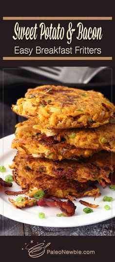Shake up your same old breakfast routine with this hot and hearty side. Simple and so good! Sweet potato and bacon easy breakfast fritters