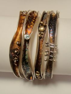 Robyn Cornelius, Wave Bangles  Sterling Silver, Little Rock Jewellery Studio, Sterling Silver, Liver of Sulfur Patina