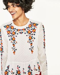 Image 2 of EMBROIDERED PLUMETIS BLOUSE from Zara