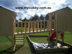 Adding a walkway between cubbies add a whole new element of fun!  The perfect cubby house for Australian backyards #mycubby #Cubby #house #cubbyhouse #playhouse #backyardplay #playideas #play