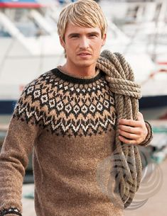 Knitting Kits, Fair Isle Knitting, Knitting Designs, Hand Knitting, Sweater Knitting Patterns, Icelandic Sweaters, Wool Sweaters, Brown Sweater, Men Sweater