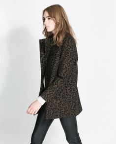 PRINTED DOUBLE BREASTED COAT from Zara
