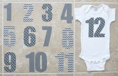 This listing is for a set of grey hipster tribal arrow iron-on numbers (1 through 12) and does not include the onesies themselves.  Numbers are