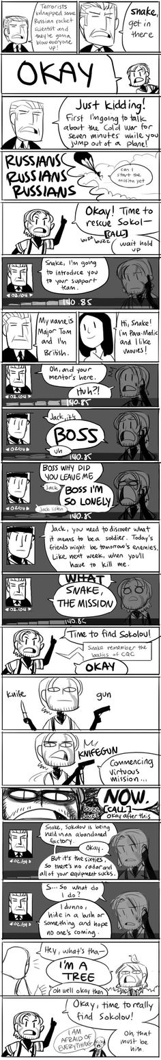 The Metal Gear Solid 3 parody comic from the Hiimdaisy comic series. Done by Gigidigi, of Cucumber Quest fame.