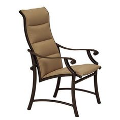 Tropitone Montreux II Padded Sling Dining Arm Chair Finish: Sonora, Fabric: Sparkling Water