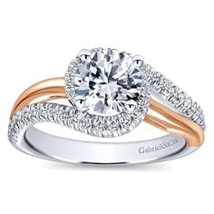 14k White/pink Gold Round Bypass Engagement Ring angle 5
