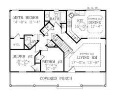 Country Style House Plan - 3 Beds 2 Baths 1040 Sq/Ft Plan #456-31 Main Floor Plan - Houseplans.com