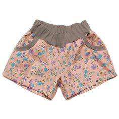 dusty pink floral shorts.
