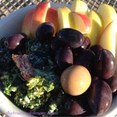 Breakfast this morning at the #treeoflife  ~ apples, hazelnut butter, kale salad, and olives.  #thefruitexperiment #rawvegan