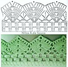 If you looking for a great border for either your crochet or knitting project, check this interesting pattern out. When you see the tutorial you will see that you will use both the knitting needle and crochet hook to work on the the wavy border. Crochet Boarders, Crochet Edging Patterns, Crochet Lace Edging, Crochet Diagram, Crochet Chart, Crochet Trim, Filet Crochet, Crochet Designs, Knitting Patterns