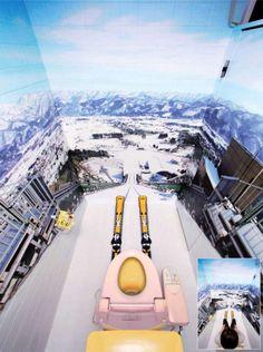 ジャンプ台から見える景色をトイレの壁にプリントしている(長野県飯山市の斑尾高原スキー場)