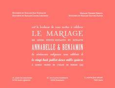 faire-part mariage Le plus beau jour (corail) by Marion Bizet pour www.fairepart.fr #wedding #fairepart #mariage #corail