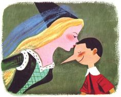 Art Seiden (1923-2004) ... illustration from Pinocchio, published by Wonder Books, 1954.