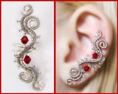 Cool dark silver and red EAR CUFF with dark by CharmingWondersCW, $12.20