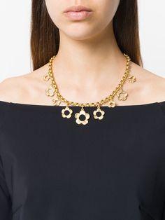 Kenzo Vintage flower pendant chain necklace