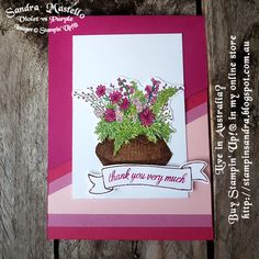 Basket for You : Sandra Mastello : Violet vs Purple : Stampin' Up! Interactive Cards, Fun Fold Cards, Stampin Up Cards, Your Cards, Card Making, Flower Baskets, Paper Crafts, Purple, Flowers