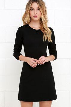 Posh Black Long Sleeve Dress Perfectly Posh Black Long Sleeve Dress at !Perfectly Posh Black Long Sleeve Dress at ! Black Dress With Sleeves, Simple Black Dress, Black Long Sleeve Dress, Dress Black, Long Sleeve Casual Dresses, Casual Black Dresses, Long Sleeved Dress, Simple Dress Casual, Black Gowns