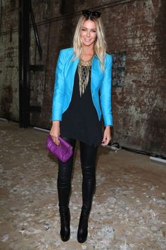 Love the bright blue with the black leather