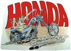 Honda CB 750 Choppers! Honda Bobber, Honda Cb750, Honda S, Honda Motorcycles, Swan Tattoo, David Mann Art, Honda Fury, Helmet Paint, Cars Coloring Pages