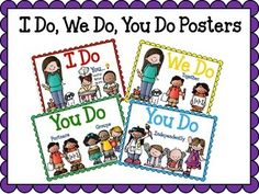 These posters are designed to help you with your lessons while practicing gradual release. A clothespin or clip can be placed on each poster as you go through each part of the lesson. There are 8 sets, 4 posters in each set. Each set contains a different teacher clipart and you can print out the one you most identify with.I Do...you watch, learn, and listenWe Do...togetherYou Do...with a partner or groupYou Do...independently
