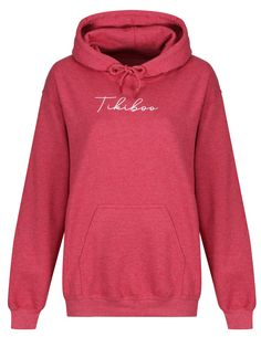Autographed by Tikiboo, in our stylish Essence loungewear range adds a touch of colour and comfort to your autumn/winter fitness wardrobe.  This raspberry hoodie features a white Tikiboo Essence logo, a front pocket, a warm fleece-lined inner and toggles on the hood. Loungewear, Raspberry, Range, Touch, Warm, Unisex, Autumn, Colour, Pocket