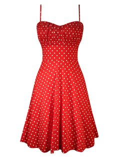 Double Trouble Women's Polka Dot Swing Dress - Red