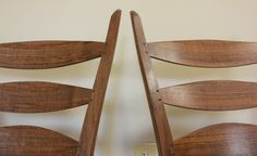 Twin ladderback side chairs, from the same local (Asheville NC) walnut tree.