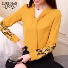 2018 spring new embroidered shirts women clothing long sleeve fashion blouses floral office lady blouses women tops 30 Autumn Clothes, Work Fashion, Cheap Fashion, Fashion Women, Short Shirts, Floral Blouse, Floral Sleeve, Office Ladies, Blouse Styles