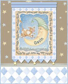 Cow & Moon Blue Canvas Reproduction