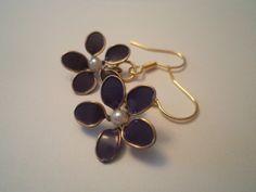 Dark Purple Nail Polish Flower Earrings by MarieCotton on Etsy