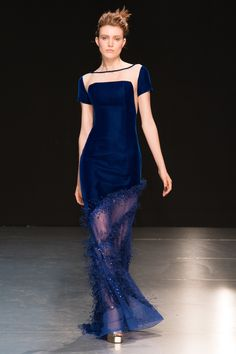 Georges Chakra | Fall 2017 Couture | 21 Blue velvet short sleeve maxi dress with sheer hem