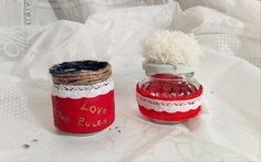 Handmade small jar, decorated with red leather and lace.  15 lei/buc 4 euro/piece Just one piece. https://www.facebook.com/homemaderulescluj