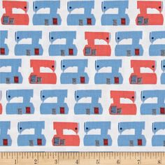 Kaufman Sew Dressed Up Machines Navy from @fabricdotcom  Designed by Niamh Fitzsimons for Robert Kaufman, this cotton print fabric features classic sewing machines waiting for you to start your next project! Perfect for quilting, apparel and home decor accents. Colors include white, black, grey, red, coral and shades of blue.