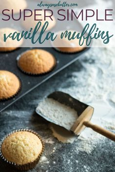 Easy Vanilla Muffins - Perfect For Cupcakes! The best Vanilla Muffins are moist, delicious & super easy to make from scratch. With ingredients y Fun Desserts, Delicious Desserts, Dessert Recipes, Yummy Recipes, Breakfast Recipes, Easy Cupcake Recipes, Cookie Recipes, Baking Recipes, Cream Filled Cupcakes