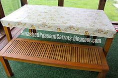 Fitted vinyl tablecloth. Great for covering the kitchen table during messy projects.