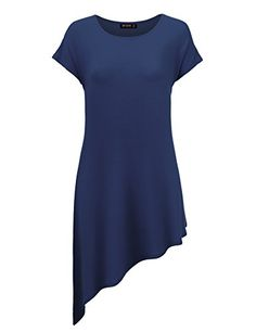 CTC WDR934 Womens Round Neck Short Sleeve Asymmetrical Hem Tunic Tee Dress XXL NAVY -- Read more  at the image link. (This is an affiliate link and I receive a commission for the sales)