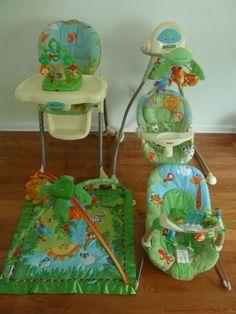 Fisher Price-Rainforest Bundle Baby Gear: Bouncer, Swing, Play Mat, High Chair   #FisherPrice