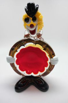 Vintage Midcentury Murano Glass Clown, Red, Amber Ashtray Bowl Dish