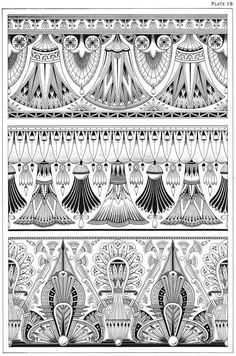 : Welcome to Dover Publications - Egyptian Motifs in the Art Deco Style Motif Art Deco, Art Nouveau Design, Design Art, Art Nouveau Pattern, Art Deco Tattoo, Tatoo Art, Nouveau Tattoo, Pinturas Art Deco, Tattoo Muster